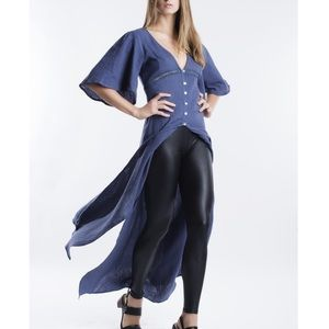 Bare Anthology Tops - Flutter Sleeve Kimono Maxi Duster Cardigan Top