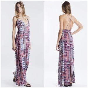 """Set on Fire"" Tribal Printed Backless Maxi Dress"