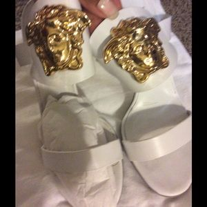 Versace Shoes - White Versace Medusa head sandal