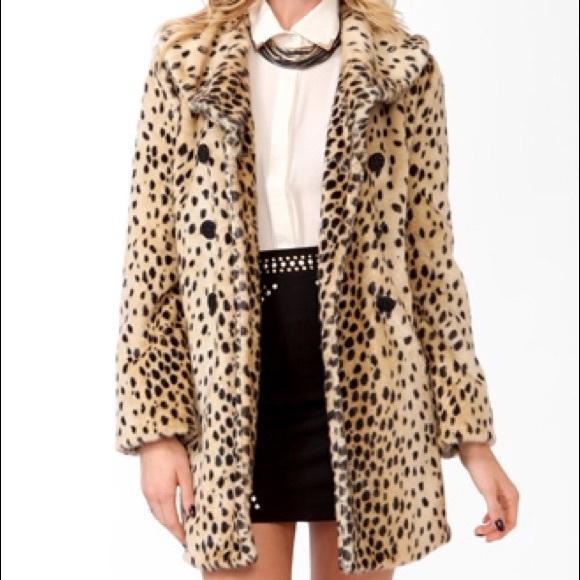 797159cd8861 Forever 21 Jackets & Coats | Womens Faux Fur Leopard Coat Nwt Size L ...