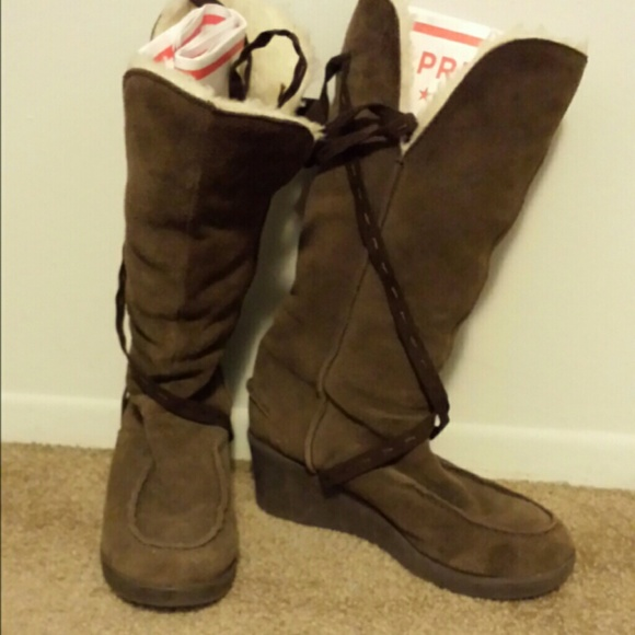 emu s emu brown suede wedge boots 8 from