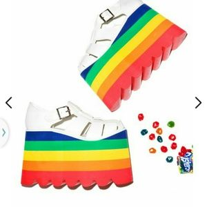 DOLLS KILL, platform rainbow sandles! Sz 6