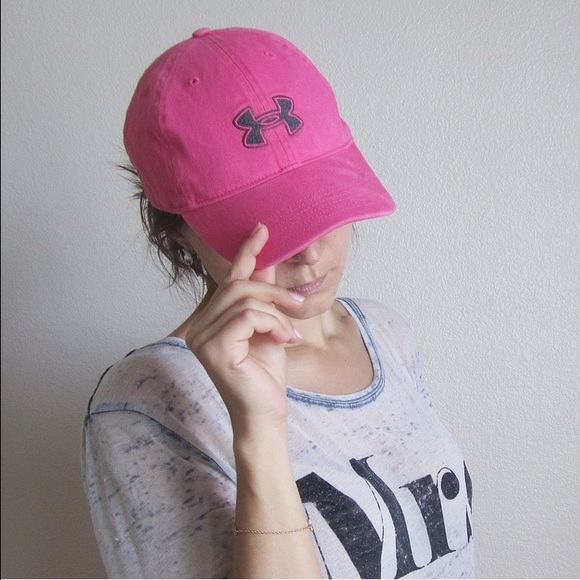 pink under armour hat