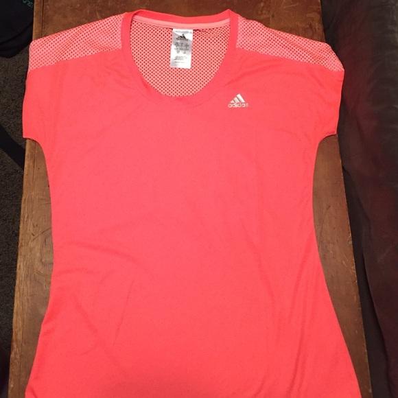 NWOT Adidas Dri Fit Workout shirt: Bright Salmon