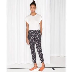 NWT & Other Stories Black Floral Jogger Trousers