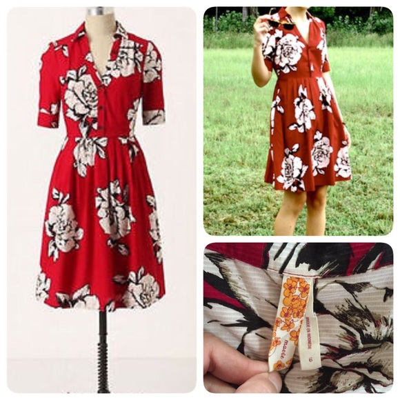 27c24ab1a83f Anthropologie Dresses & Skirts - Anthro Maeve red floral dress❤️