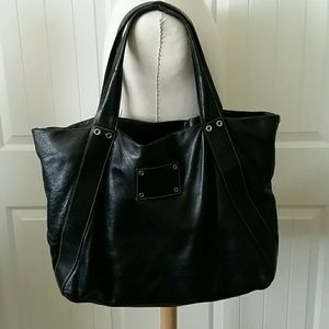 prada black leather satchel handbag purse