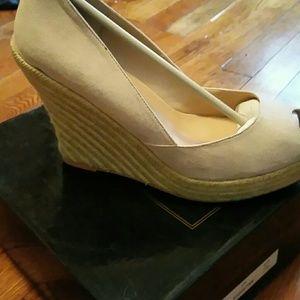 COLIN STUART suede espadrille peep-toe wedge