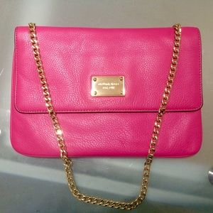 Michael Kors purse clutch leather hot pink fucsia