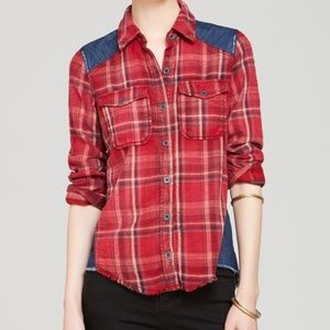 Free People Road trip plaid & denim shirt
