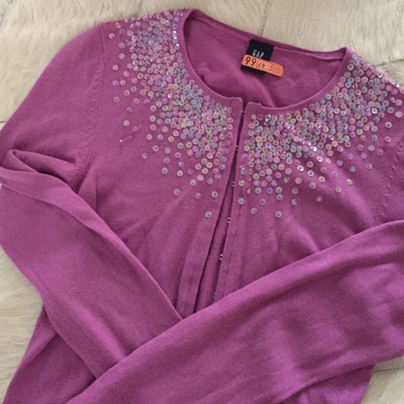 GAP Sweaters - Pink cardigan with sequins XS