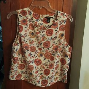 Floral 50s style sleeveless top euc