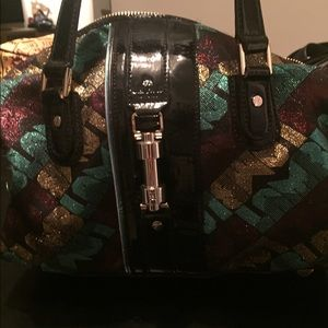 L.A.M.B. Green and gold large satchel