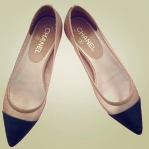 CHANEL Shoes - 100% AUTH RARE CHANEL nude/navy mesh flat