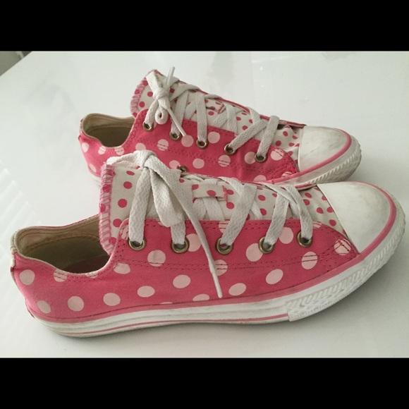 57ecbd344f6972 Converse Shoes - Pink polka dot converse