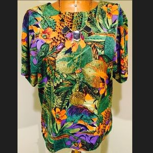 Silk Tropical print Top