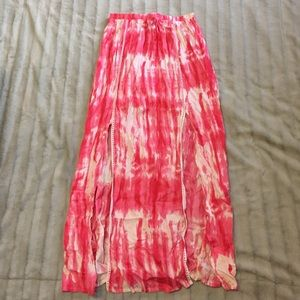 Boohoo Fashion tie dye coral slit skirt size 8