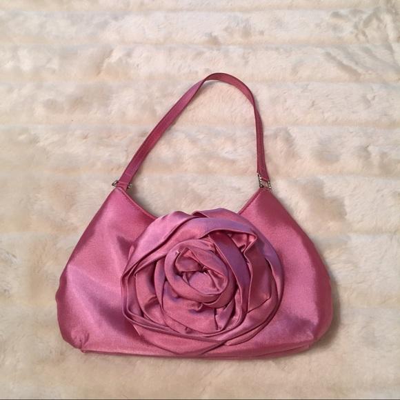 Handbags - Pink Satin Flower Evening Bag