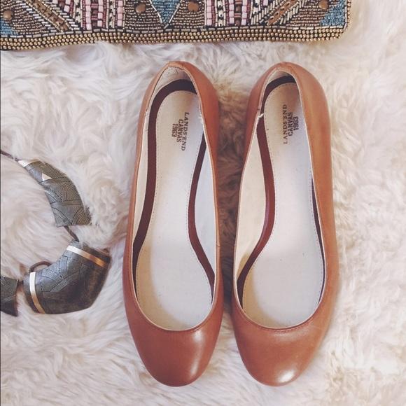 29b5753729d7 Lands' End Shoes   Lands End Canvas Tan Leather Flats   Poshmark