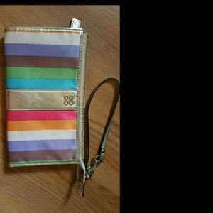 Coach julia legacy stripe zippy wallet/wristlet