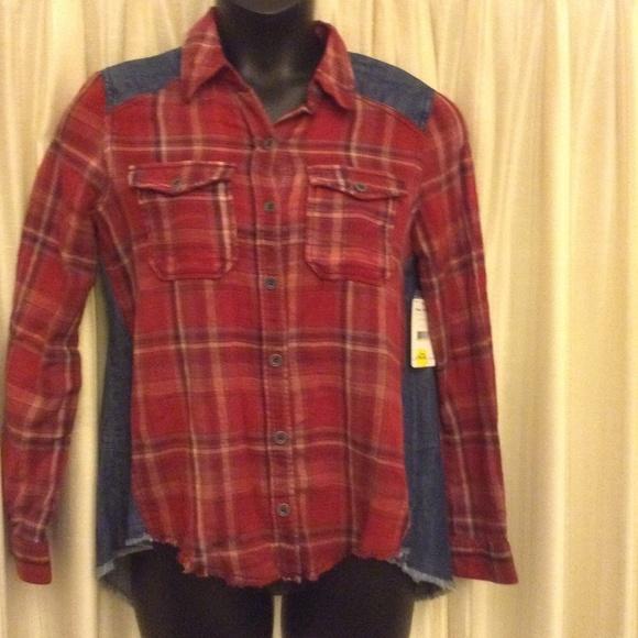 Free People Tops Fp Denim N Plaid Flannel Button Up Shirt Poshmark