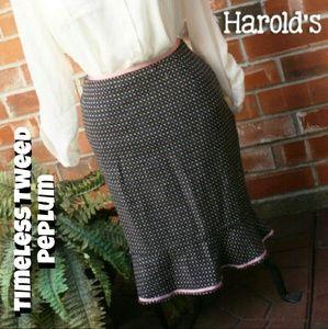 SALE Harold's Tweed Bell Brown Polka Dot Skirt