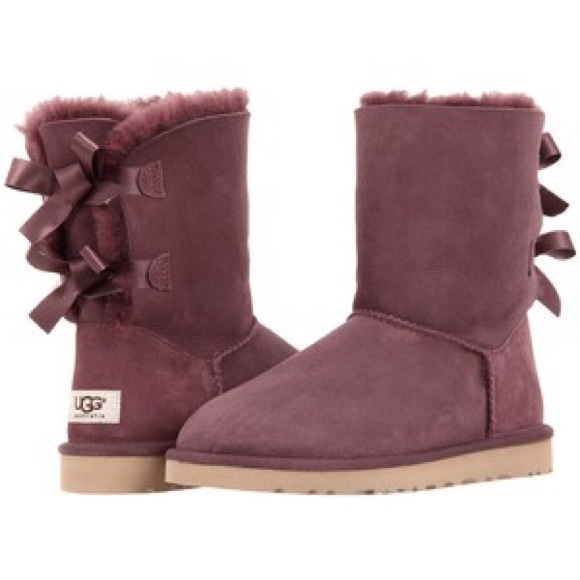 UGG Bailey Bow Boots in Burgundy