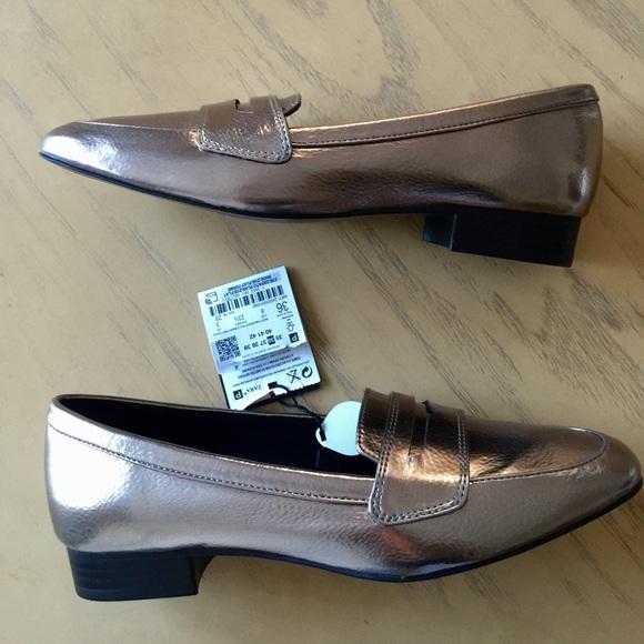 ff2da5baae3 Zara Shiny Silver Loafers Size 9(40)