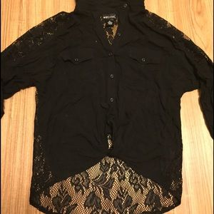 Wet Seal Tops - Black lace button up
