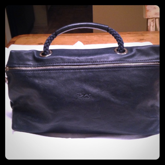 Longchamp Handbags - Longchamp navy small leather tote   clutch 3b73a7a7dcd76