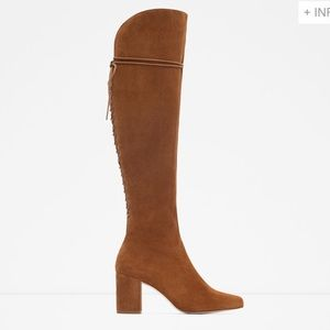 Zara High Heel Knee High Lace up Suede Boots