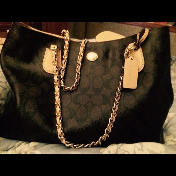bbcfef1778 Coach Handbags - Coach Peyton Signature Chain Tote