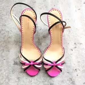 kate spade Shoes - Kate Spade Pink Black and White Satin Heels