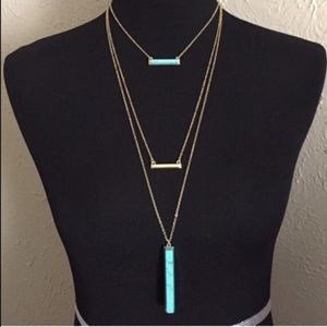 💠Turquoise Vertical Stick Bar Necklace