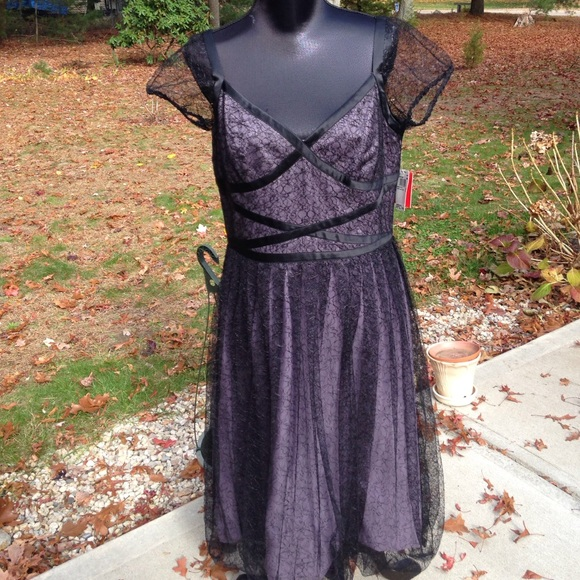 Lilac and Black Lace Dress