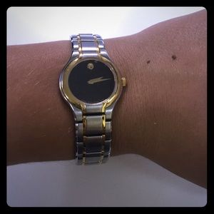 Movado Stainless with Gold Detail Watch Authentic