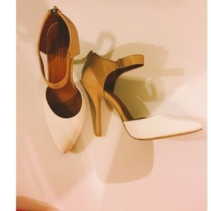 Shoes - White and nude pointed heels