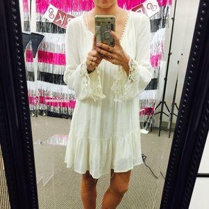 Ivory cream boho peasant dress