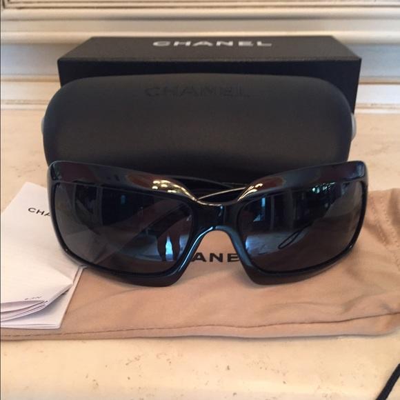 5abb66a18ef9 CHANEL Accessories | Black Cc Logo Sunglasses 6022q | Poshmark