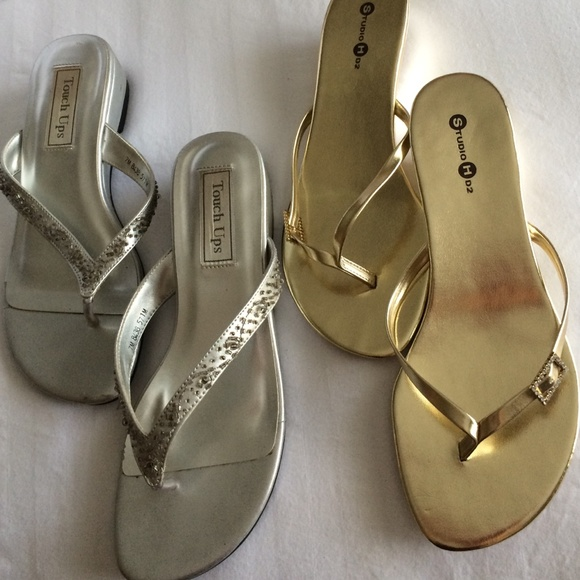 73ccb5da7 Silver + Gold Dressy Prom Flip Flops Bundle. M 55f1f3e7d3a2a7cfa60061ae.  Other Shoes you may like. Touchups ...