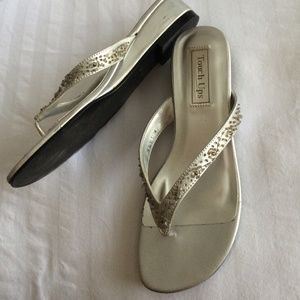 8978ff0c3 Touch Ups Shoes - Silver + Gold Dressy Prom Flip Flops Bundle