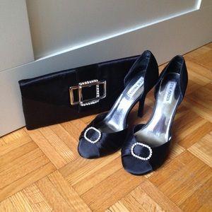 Handbags - Black Satin Clutch with rhinestones, Like New