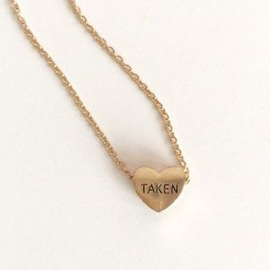 "Dainty ""Taken"" Valentine's Day Heart NecklaceSet"