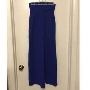 vintage High waisted blue maxi skirt with slit