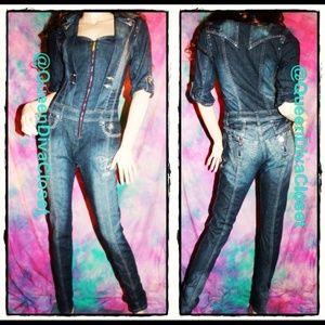 Dereon Pants - Glamour Skinny Denim Jean Jumpsuit Romper Jumper