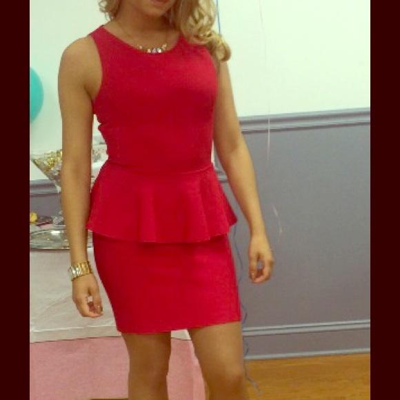 BCBG Dresses | Red Peplum Dress | Poshmark