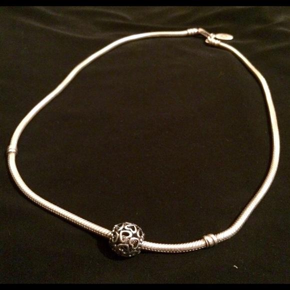 Pandora Silver Necklace 50cm: Silver Pandora Necklace With Open Your Heart