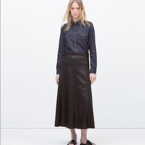Zara Faux Leather Skirt