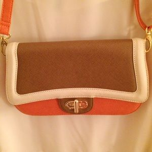 Vegan Leather Color Blocked Clutch w/ Strap