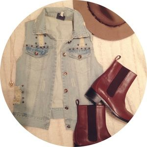 SALE Distressed Denim Vest